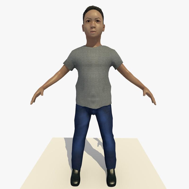 asian arab boy john 3d model