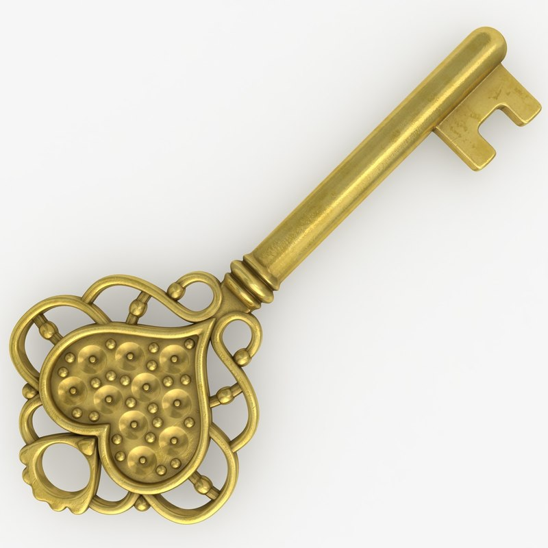 3d model realistic vintage key set
