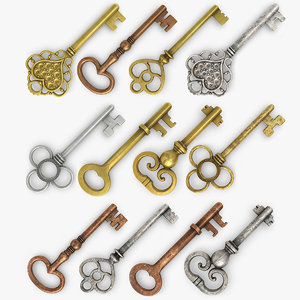 3d model realistic vintage key set