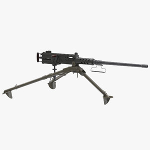 3d model machine gun browning m2