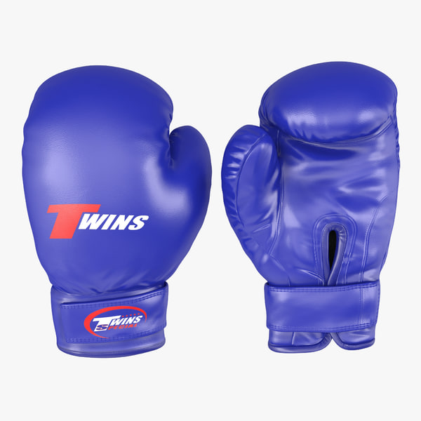 boxing gloves twins blue 3d model