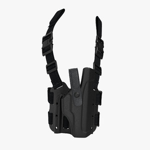 3d model of tactical leg pistol holster