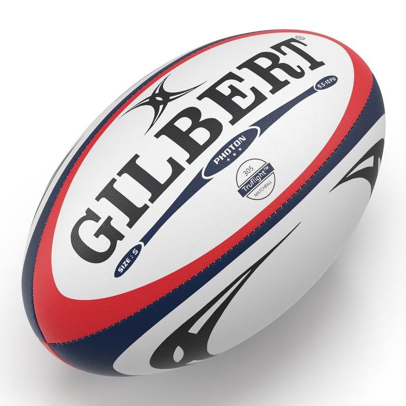 3d model rugby ball gilbert