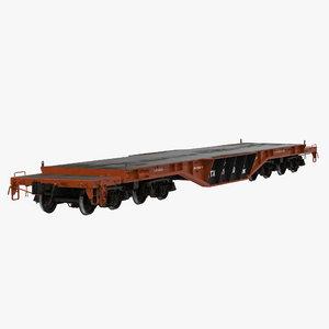 3d model heavy duty flat car
