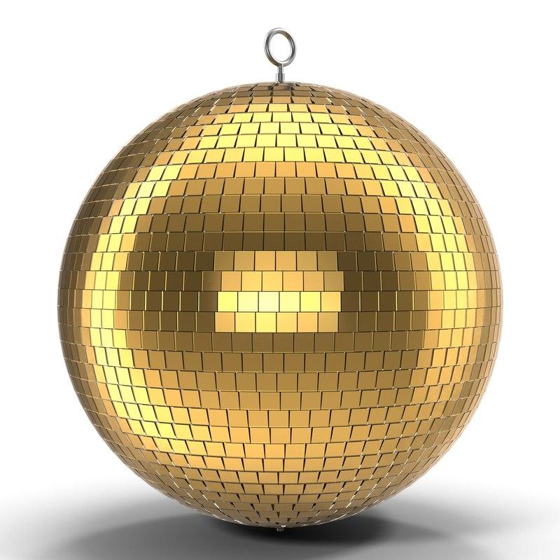 3d disco ball gold