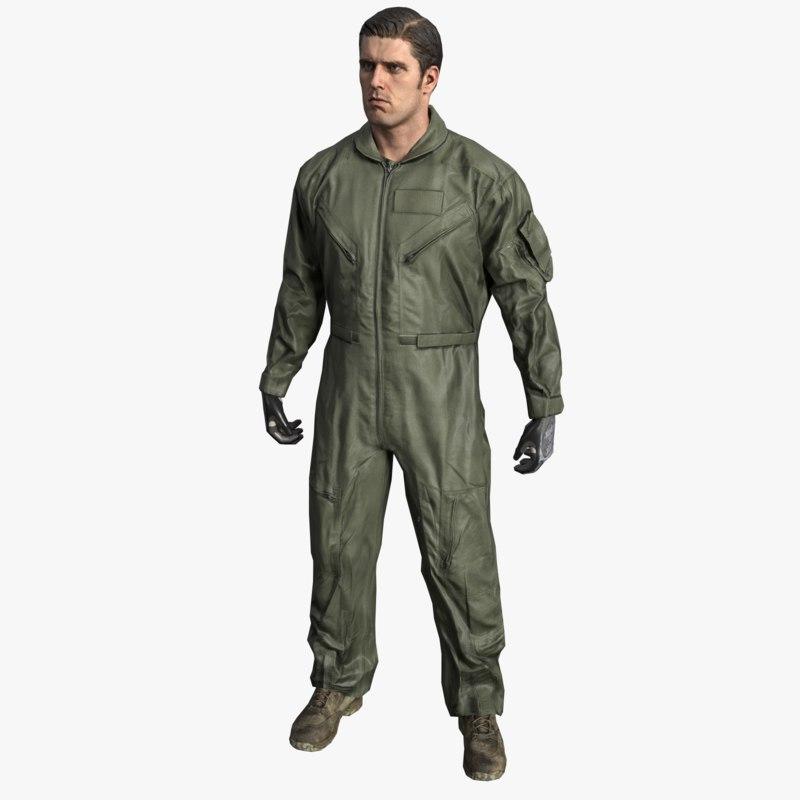 pilot flight suit army soldier 3d model