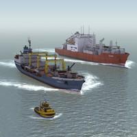 civilian ships 3d model