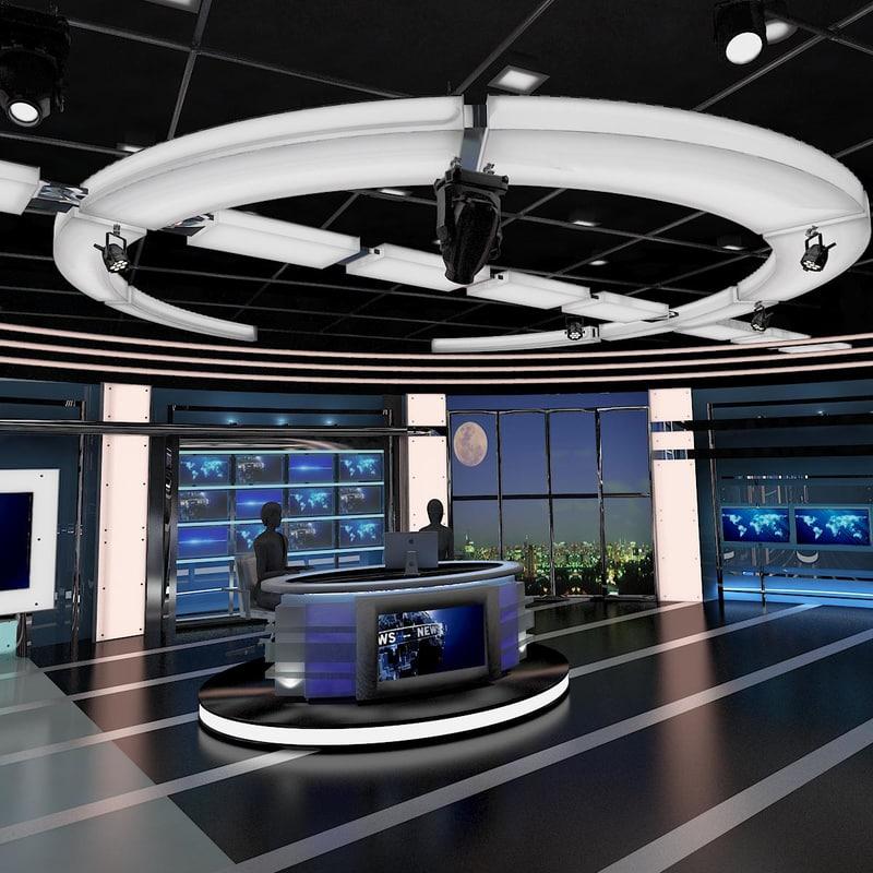 3d virtual tv studio news set model