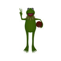 Kermit Frog Caricature 3D Model