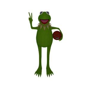 3d kermit frog caricature model