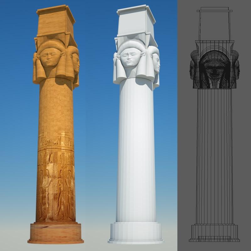 3d model of egyptian column 8 egypt