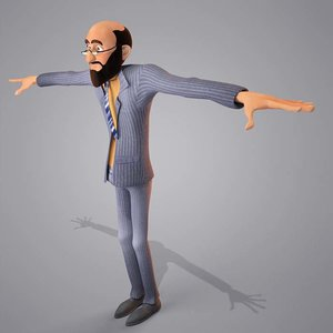 cartoon egypt man character 3d model