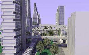 3d modern definition city scene model