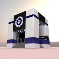 office building clock scene 3d blend