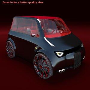 compact electric concept car 3d model