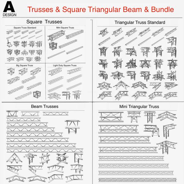 3d dxf trusses square triangular beam