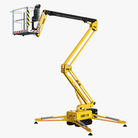 3d telescopic boom lift yellow model