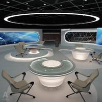 virtual tv studio news set 3d model