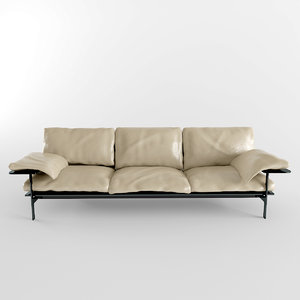 3d model realistic leather sofa
