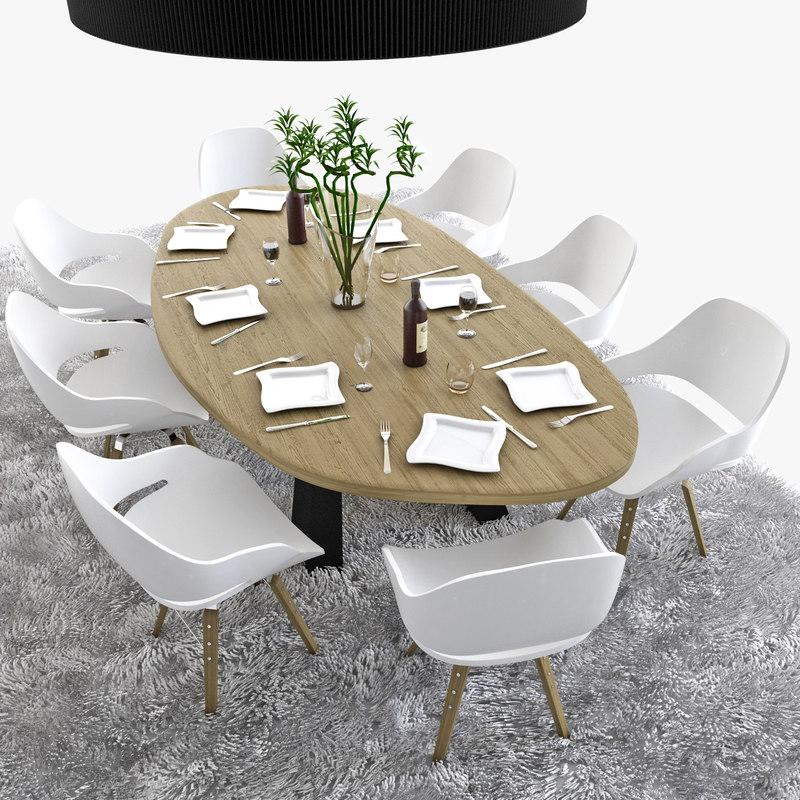 3d wooden table set model