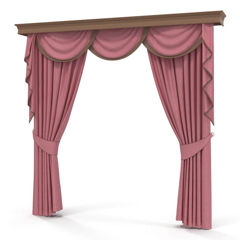 3d model curtain 6 pink