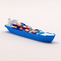 Cartoon low poly cargo ship