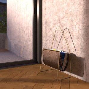 carl aubock magazine rack 3d model