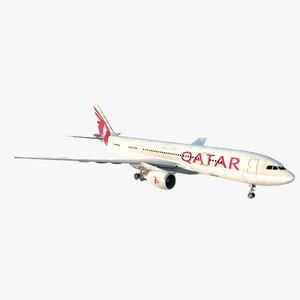 airbus a330 p2f qatar 3d max