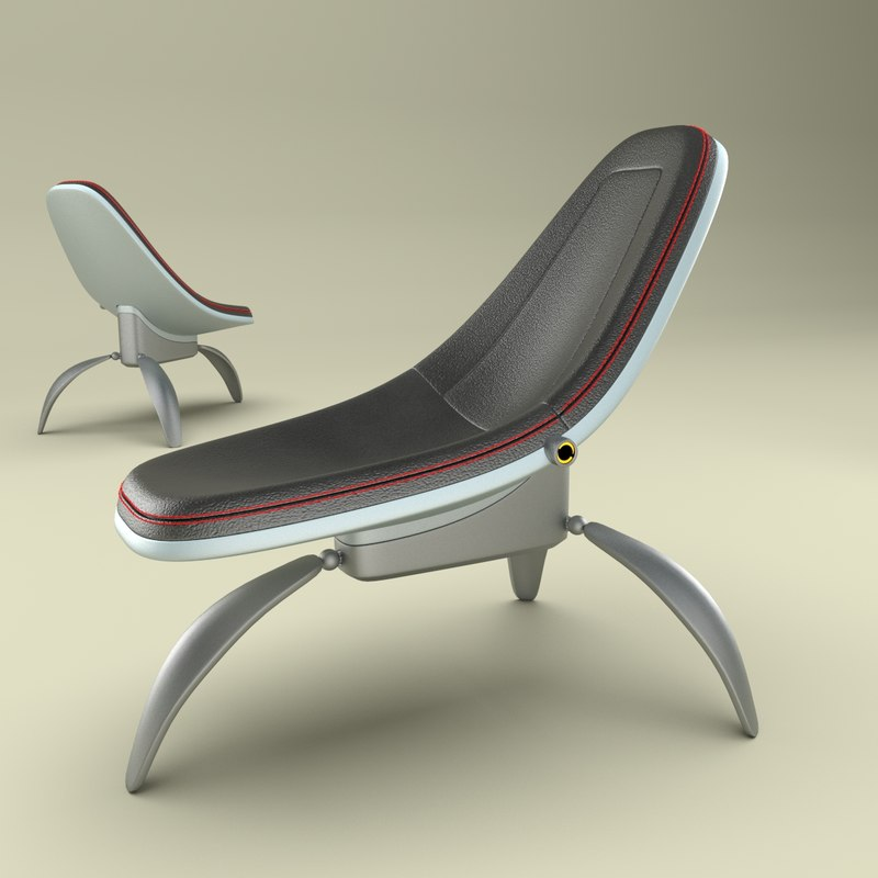 scaled leather chair tripod 3d model