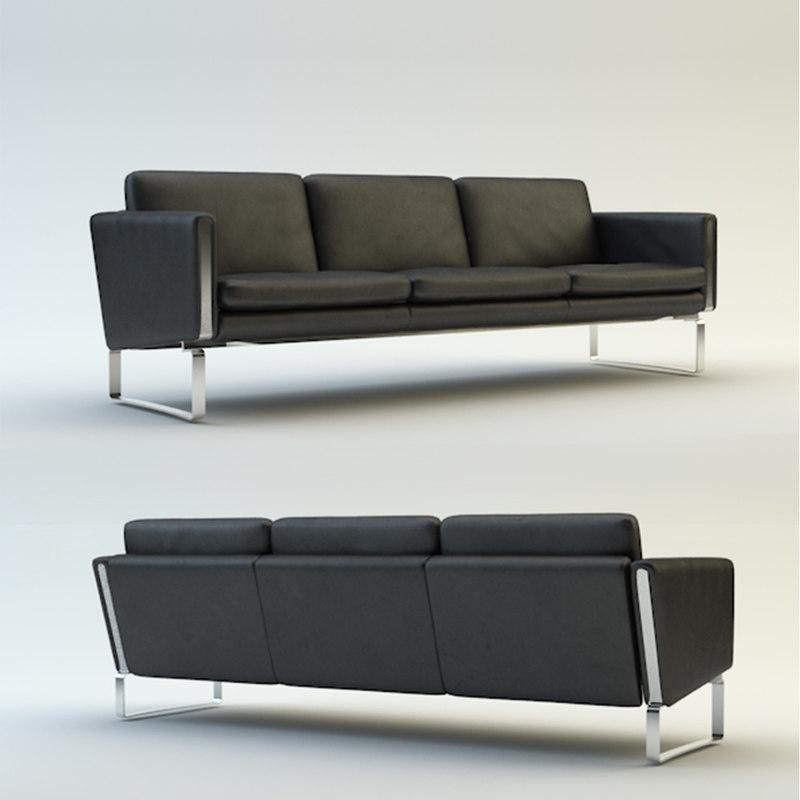 3d model leather sofa carl hansen
