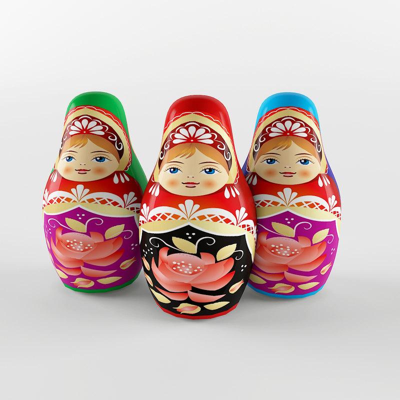 russian dolls 3d model