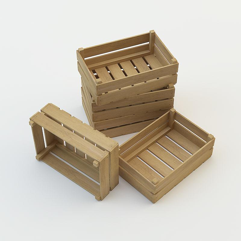 realistic wooden crate 3d model