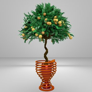 twisted orange tree 3d model