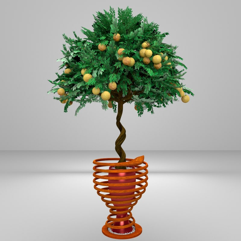 twisted orange tree 3d model