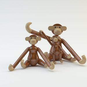 wooden monkey 3d max
