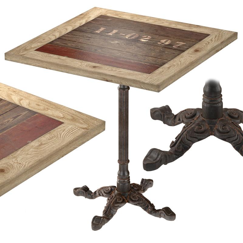 cast iron larch restaurant table 3d obj