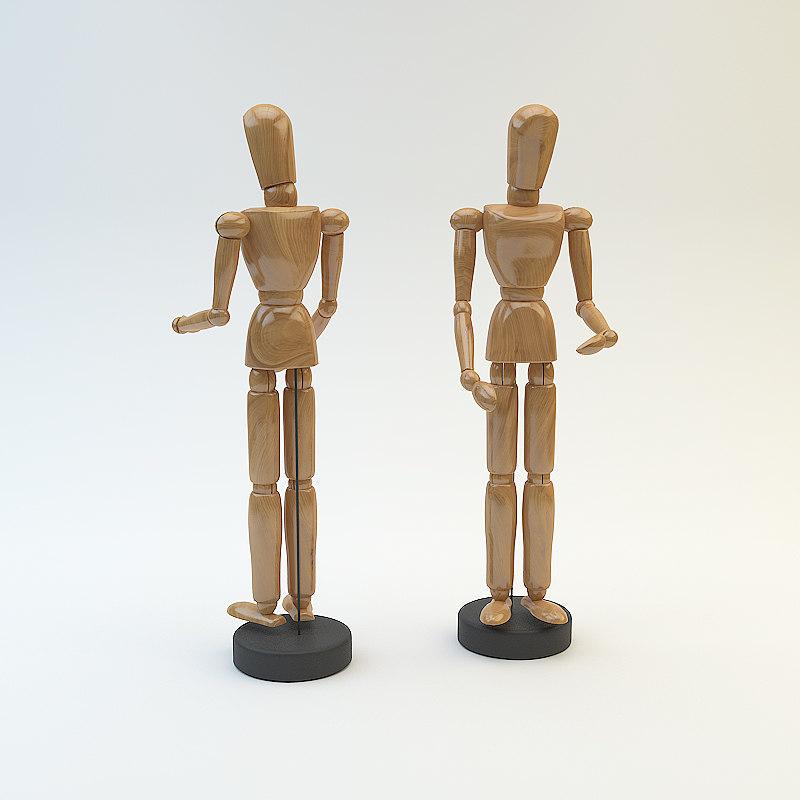 3d wooden wood figure