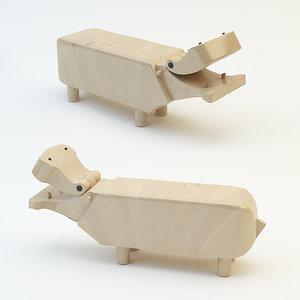 hippo wood 3d model