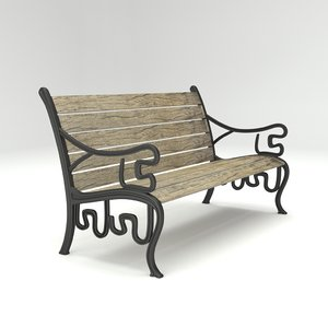 Outdoor Park Bench Old