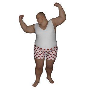 realistic dressed rigged fat man max
