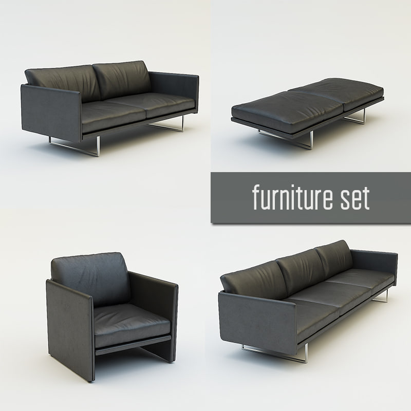 3d living room furniture set