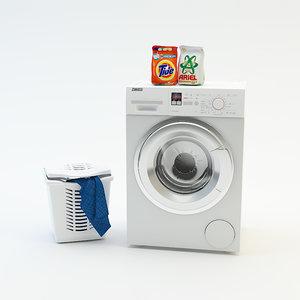 washing machine laundry basket 3d model