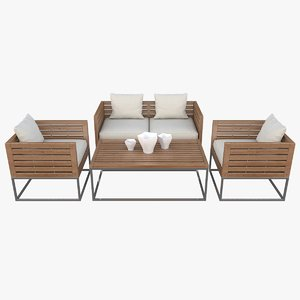 realistic outdoor furniture beliani 3d model