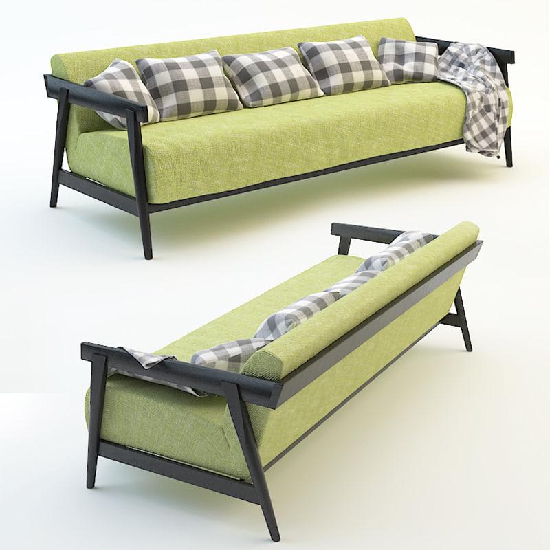 sofa plaid pillows 3d model