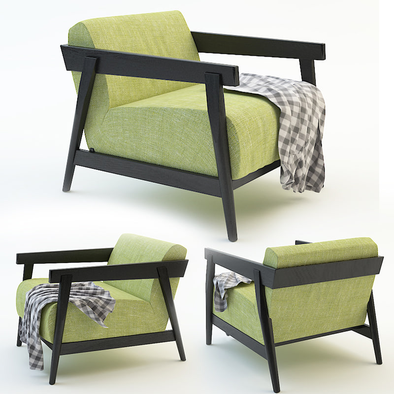 3d chair garden plaid model
