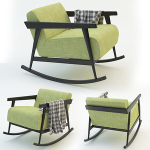 rocking chair plaid 3d model