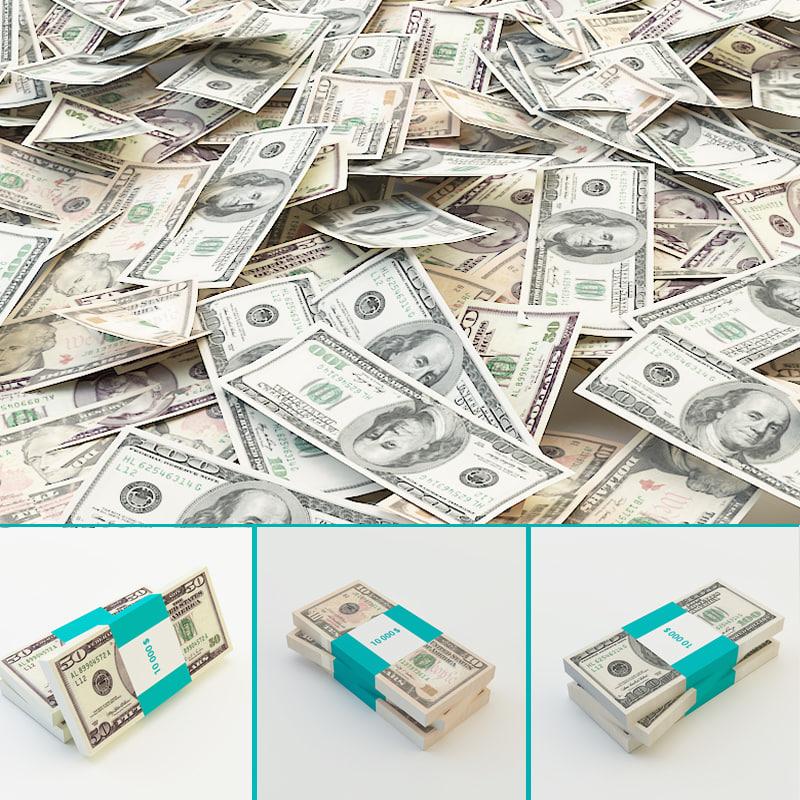 3d dollars banknote model