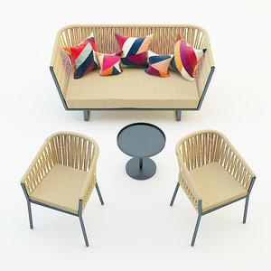 garden furniture set sofa chair 3d obj
