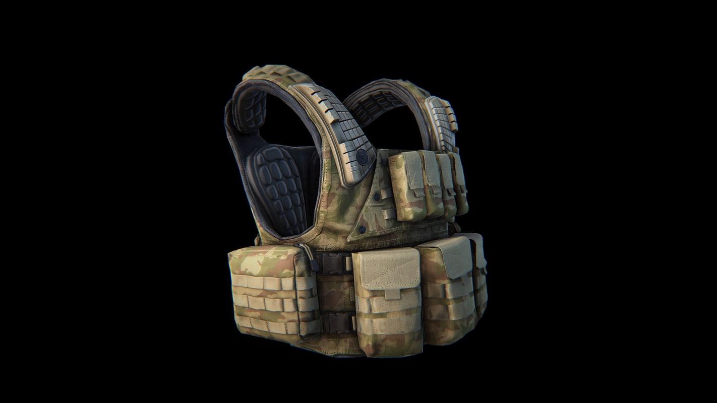 military tactical vest 3d max