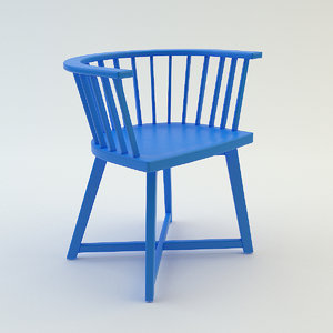 3d blue chair model
